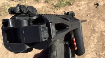 Rear view of the folding stock on the Micro Roni