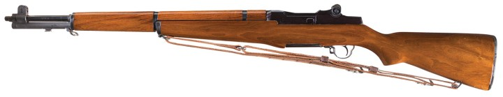 M1 Garand Rifle left profile with wood stock and sling