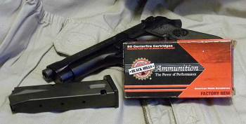 Black Hills ammunition box on a Beretta M9 pistol