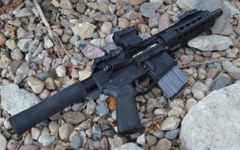 AR-15 pistol right profile with Holosun Paralow HS503C red dot sight