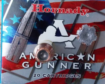 Hornady's 185-grain XTP american flag ammunition box