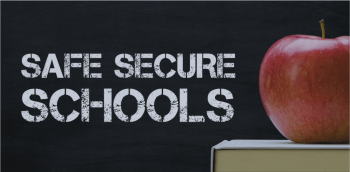Safe Secure Schools on chalkboard with an apple