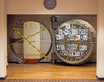 open bank vault with too big to fail sign