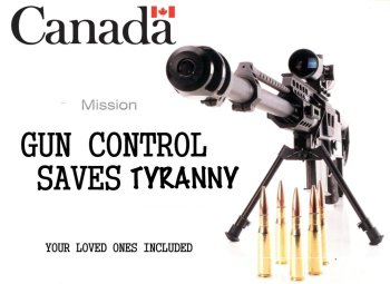Canada gun control sign with rifle and bullets for Teen Fights Gun Control