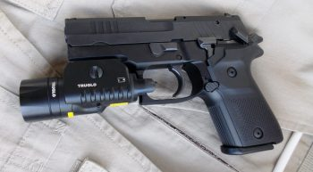 Rex Zero 9mm pistol with truglo combat light mounted
