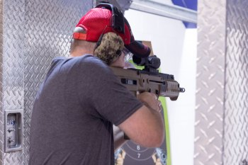 Brian Hardy shooting the IWI Tavor X95