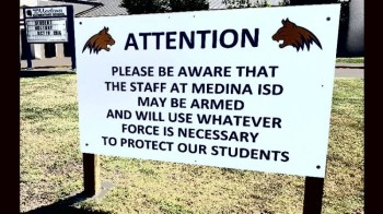 Teachers may be armed sign