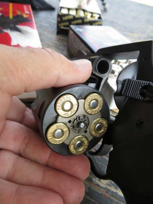 Charter Arms Pitbull .45 ACP with an open loaded cylinder