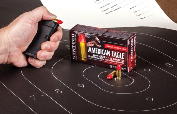 American Eagle syntech ammunition box on a sillouhette target