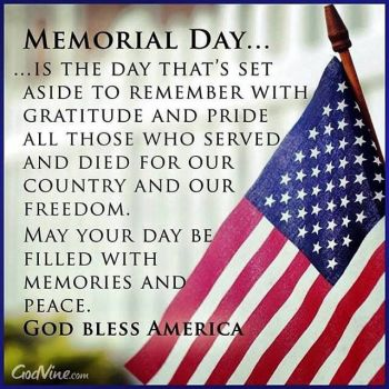 Memorial day quote and American flag