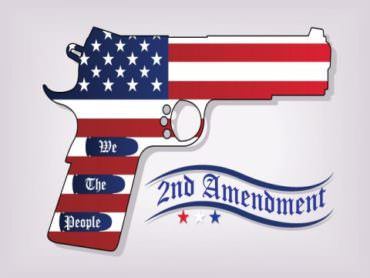 US flag patterned handgun with Second Amendment banner questioning firearms and mental illness