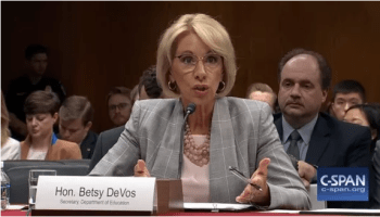 Education Secretary Betsy DeVos testifying before Congress with a focus on guns