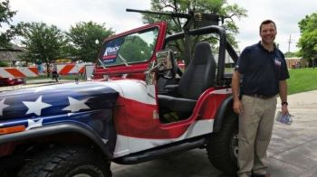 Kris Kobach with patriotic jeep refutes meltdown