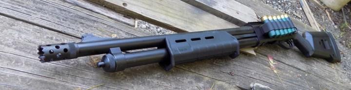 Remington Model 870 Express Tactical Magpul shotgun profile, quartering