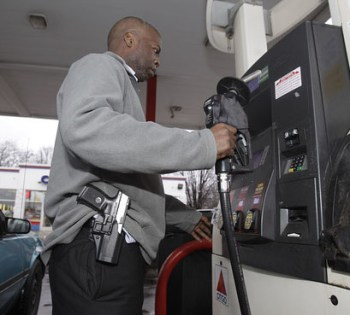 Man open carry at gas station