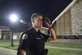 ECPD Patrolman Joe Kelnhofer using the FLIR Breach thermal monocular