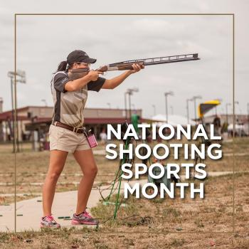 Lets Go Shooting sports month banner showing a woman shooting a shotgun #LetsGoShooting