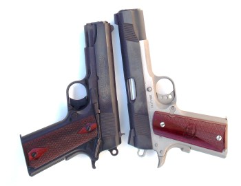 Commander left Government model 1911 pistol right