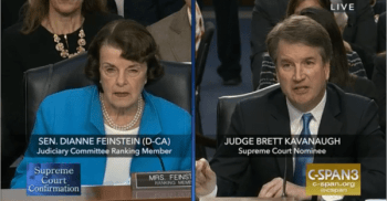 Split screen with Sen Feinstein left and Judge Kavanaugh right during senate confirmation hearing