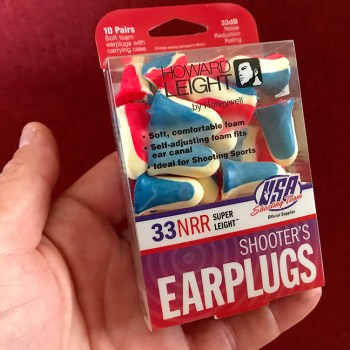 Package of foam earplugs used as hearing protection