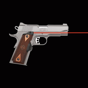 1911 handgun outfitted with a Crimson Trace red laser