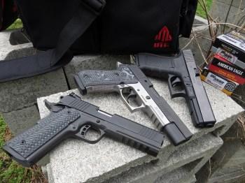 Glock G20 top, SIG P220-10 middle, RIA TAC Ultra FS bottom