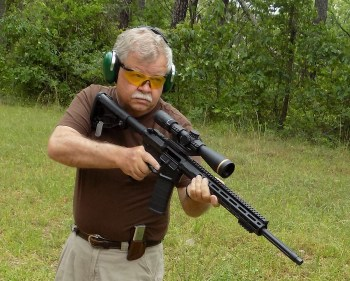 Bob Campbell with a Wilson Combat .224 Valkyrie rifle at the low ready position