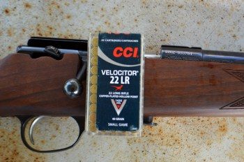 .22 LR bolt action rifle with CCI Velocitor ammunition box SHTF