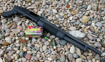 Mossberg JIC II right profile with Hornady Zombie shotshells