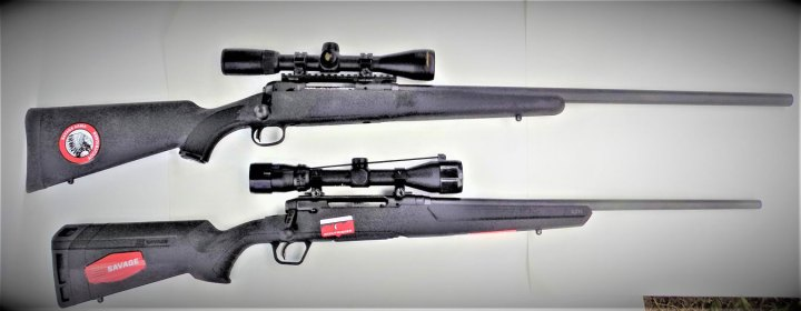 Savage Model 12 above, Savage Axis rifle below