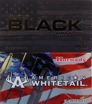Hornady Black and Hornady American Whitetail boxes