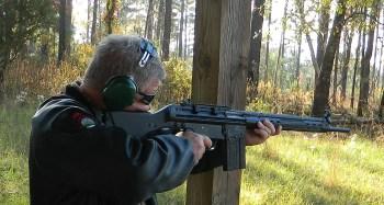 Firing a rifle from a braced position