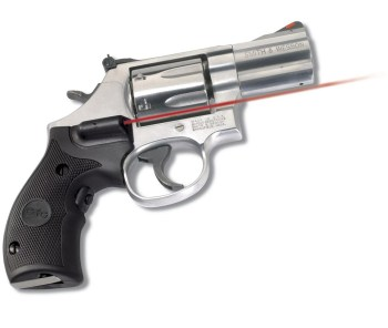 Chrome plated revolver with red Crimson trace lasergrip