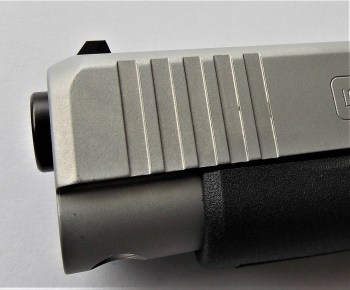 Beveled front slide on the Glock 48 pistol