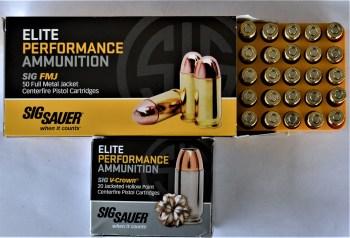 SIG Sauer Elite and V-Crown 10mm ammunition boxes