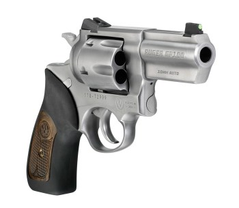 Ruger GP100 10mm revolver right quartering