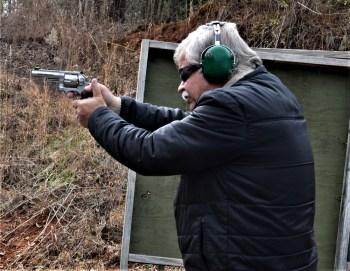 Bob Campbell shooting a Ruger GP100 revolver