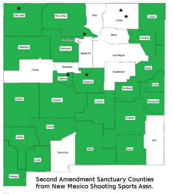 County map of New Mexico showing Second Amendment sanctuary counties opposing anti-Second Amendment law