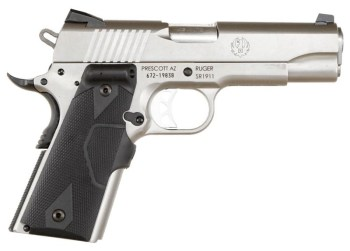 Ruger SR1911 pistol chrome with rubber grips right profile