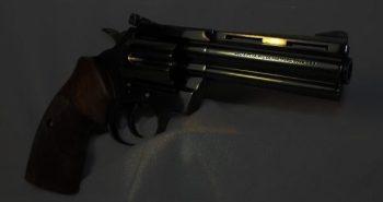Darkened revolver protesting more gun control laws in Chicago