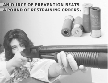 Woman pointing a shotgun for self-defense