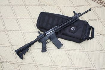 Ruger 566 AR-15 rifle on a black soft case, previously banned in Deerfield Illinois