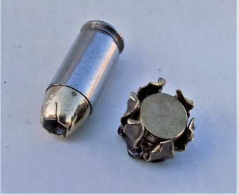 Remington .45 ACP cartridge and upset bullet