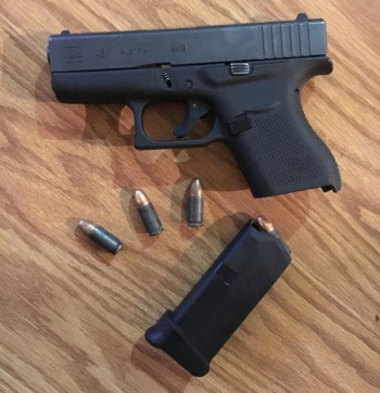Glock 43 pistol, magazine and ammunition