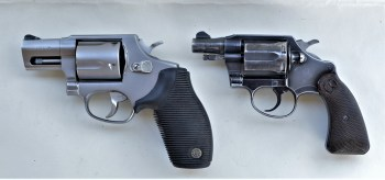 five-shot .45 revolver, left, and a six-shot .38 revolver, right.