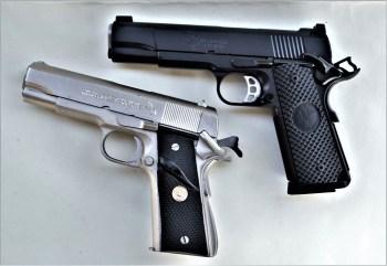 NIghthawk 1911 .45 pistol above, .45 ACP Colt 1911 pistol below