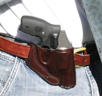 Nancy Special leather outside the belt holster with revolver for appendix carry