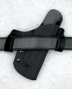 15 degree forward cant leather holster on a gun belt