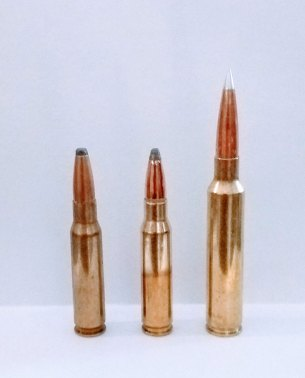 Thre cartridges with .30 caliber bullets