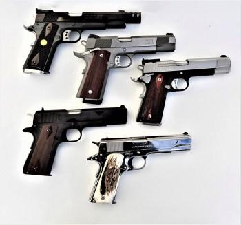 Five models of 1911 handguns